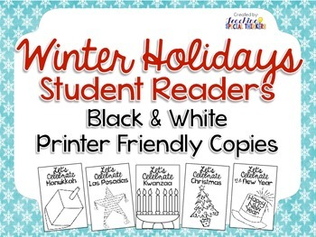 Winter Holiday Student Readers (Black and White Printer-friendly Version)