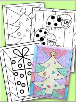 Winter Holiday Subtract and Color Games
