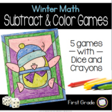 Winter Subtract and Color First Grade Math Games