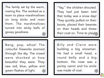 Winter Holiday Theme Fluency Task Cards - oral fluency/literacy centre