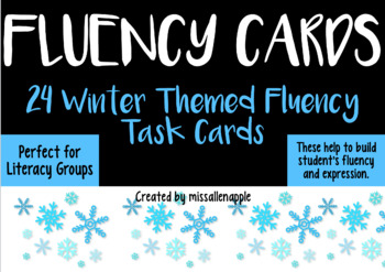 Winter Holiday Theme Fluency Task Cards - oral fluency/literacy centre