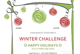 Winter Holiday Theme Homework Packet Cover for Worksheets Free
