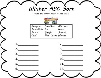Winter Holiday Themed Activity Packet