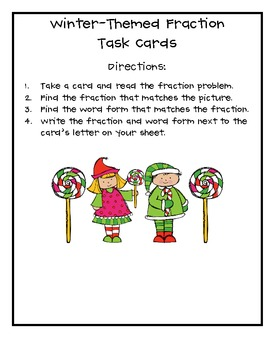 Winter Holiday-Themed Fraction Task Cards