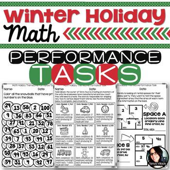 Christmas Winter Holiday Themed Math Printables Grades 4-6 Performance Tasks