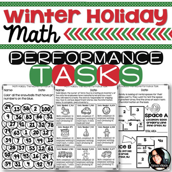 Christmas Winter Holiday Themed Math Printables Grades 4-6