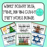Winter Holiday Tinker Bell Themed Desk, Table, Bin & Cubby Fairy Notes Bundle