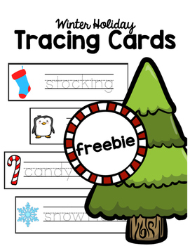 Winter Holiday Tracing Cards FREEBIE