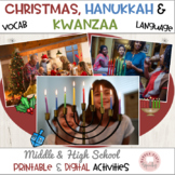 Kwanzaa, Hanukkah & Christmas:  Vocabulary Activities Middle & High School