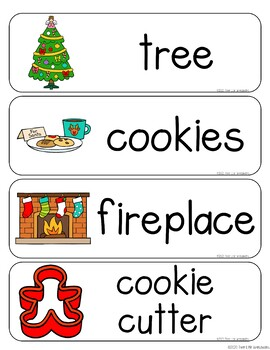 Winter Holiday Vocabulary Word Wall Cards plus Write and Wipe Version