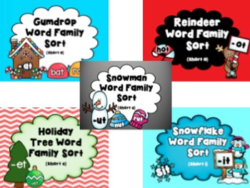 Winter Holiday Word Family Sort (a, e, i, o, u) BUNDLE