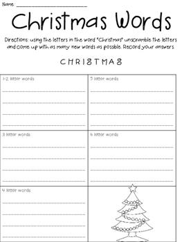 Winter Holiday Word Scrambles