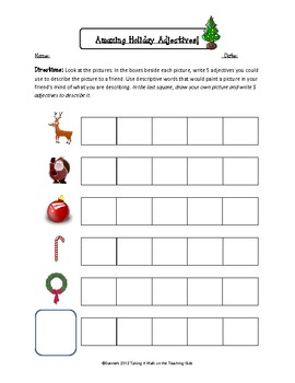 Winter, Holiday, and Christmas Adjectives worksheets and adjectives ...