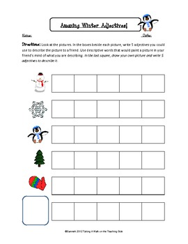 Winter, Holiday, and Christmas Adjectives worksheets and adjectives activities