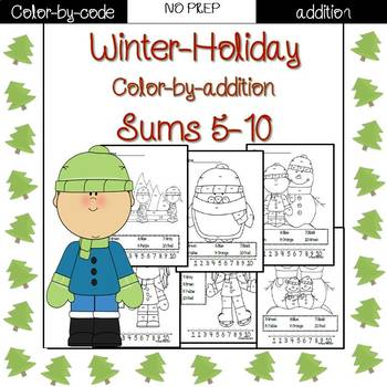 Winter Holiday color by code {addition}