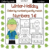 Winter Holiday color by number (1-6)