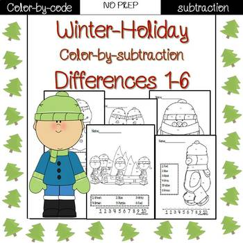 Winter Holiday color by code {subtraction}