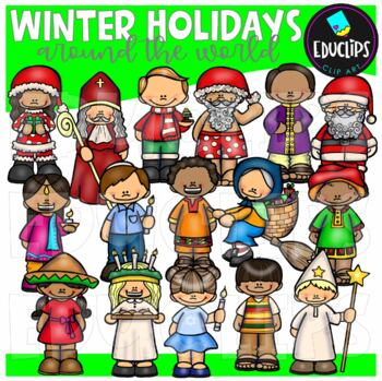 Winter Holidays - Around The World Clip Art Bundle {Educlips Clipart}