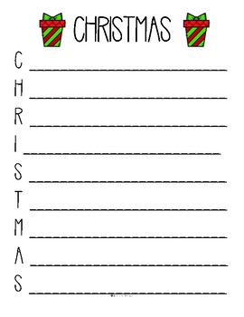 Winter Holidays Around the World Acrostic Poem Writing Paper