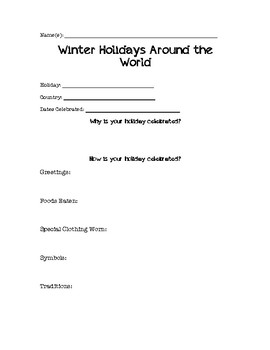 Winter Holidays Around the World Note Catcher