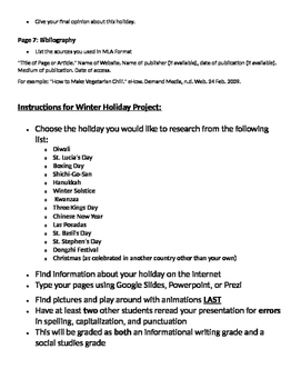 Winter Holidays Around the World - Project