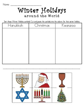 Winter Holidays Around the World Sort