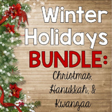 Winter Holidays Bundle {Christmas, Hanukkah, Kwanzaa}: 2 Activities!