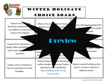 Winter Holidays Christmas Choice Board Activities Menu Literacy Center Project