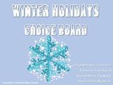 Winter Holidays Christmas Choice Board Activities Menu Lit