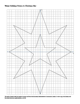 Winter Holidays Christmas Star Coordinate Plane Connect the Dots Worksheet