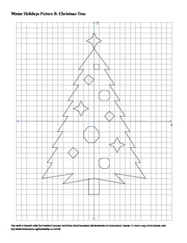 Winter Holidays Christmas Tree Coordinate Plane Connect the Dots Worksheet