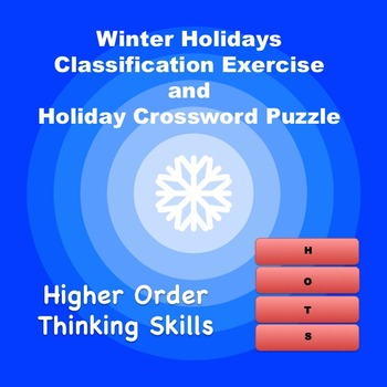 Winter Holidays Classification Exercise and Holiday Crossword Puzzzle