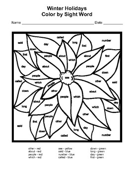 Winter Holidays Color by Sight Word Instant Download Coloring Pages