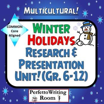 Winter Holidays Common Core Research Presentation Project Grade 6,7,8,9,10,11,12