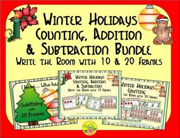 Winter Holidays Count, Add & Subtract Bundle with 10 & 20 Frames {Subitizing}