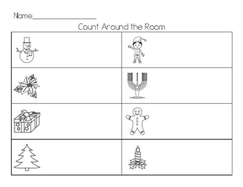 Winter Holidays Count the Room (Write the Room)