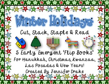 Winter Holidays 'Cut, Stack, Staple, Read' Early Emergent 'Flip Books'; Set of 5