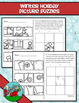 Winter Holidays Drawing or Cut-Paste Picture Puzzles