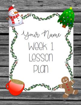 Winter Holidays Editable Farmhouse Lesson Plan Template