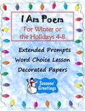 Winter I Am Poem: Prompts & Decorated Papers