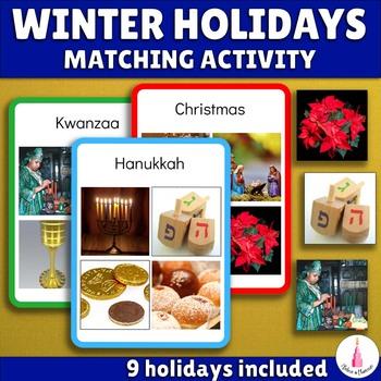 Winter Holidays Matching Activity