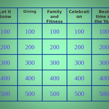 Winter Holiday PE Jeopardy