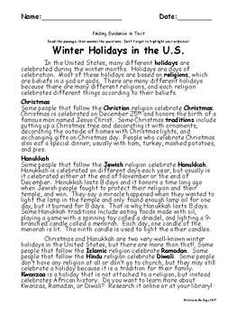 Winter Holidays Passage - Finding Textual Evidence