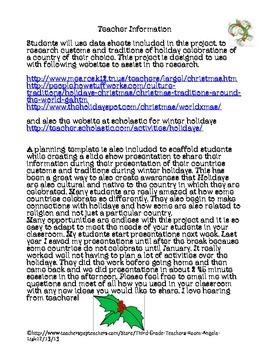 Winter Holidays Project - Web Based Informational Text Close Reading