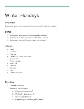 Winter Holidays Project with Rubrics
