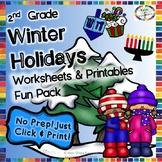 Winter Holidays Reading, Writing, Math, & Fun Activities & Worksheets- 2nd Grade