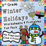 Winter Holidays Reading, Writing, Math, & Fun Activities & Worksheets- 3rd Grade