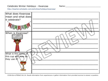 Winter Holidays Research Unit: Christmas, Kwanzaa, and Hanukkah