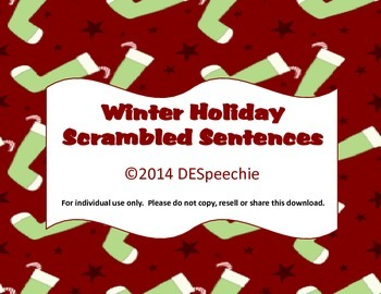 Winter Holidays Scrambled Sentences