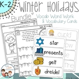 Winter Holidays Spelling Word Work and Vocabulary Cards Bundle